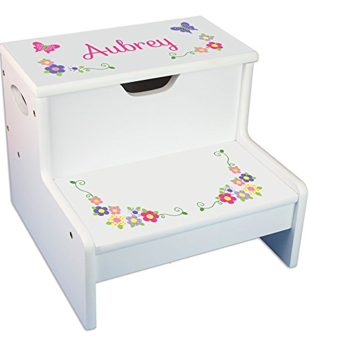 Personalized Bright Butterflies Garland White Childrens Step Stool with Storage