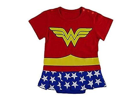 Wonder Woman 0-6 Monate Caped Baby Kleinkind Mädchen Spielanzug Party Spiel Kleid Outfit Inspiriert von DC Comics
