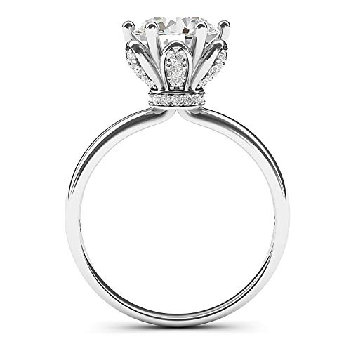 Solid Sterling Silver Romantic Flower Style 6-Prong Set 2.0 CT Simulated Diamond Engagement Ring