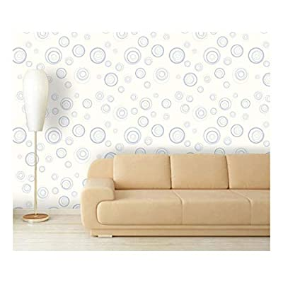 Lovely Visual, With a Professional Touch, Large Wall Mural Fresh Blue Abstract Circles Vinyl Wallpaper Removable Decorating