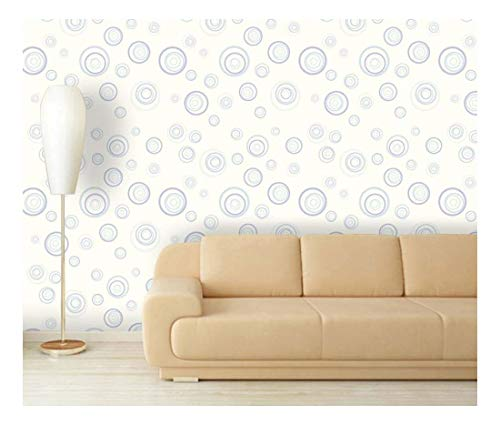 Large Wall Mural Fresh Blue Abstract Circles Vinyl Wallpaper Removable Decorating