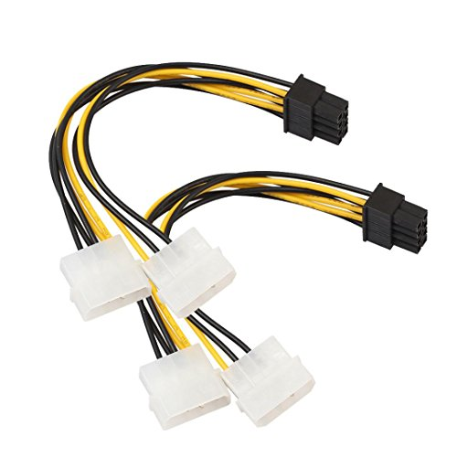 End Converter Cable (Mchoice 2PC Dual Molex 4 Pin To 8 Pin PCI-E Express Converter Adapter Power Cable 18cm)
