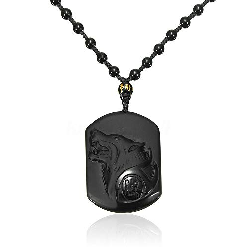 - Madame Jewelry Natural Handwork Carved Black Obsidian Wolf Head Pendant with Beads Necklace