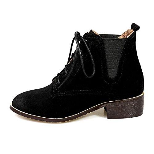 AllhqFashion Womens Round Closed Toe Low-Heels Frosted Low-Top Solid Boots Black 1E9GjkR6Px