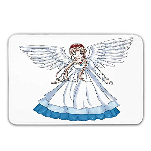TecBillion Anime Non Slip Rubber Entrance Rug,Cartoon Illustration of Cute Angel Wings and Flowers Fairytale Japanese Manga Print Doormat for Front Door,31.5