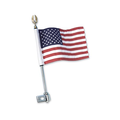 AMRJP-4-248 * Show Chrome Accessories 12″ Gold Eagle Flag Pole Mount with American Flag by Unknown