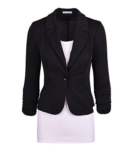 Wowbridal mujeres botón de un solo trabajo de color sólido chaqueta de punto Negro