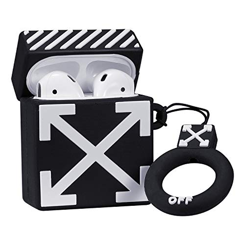 Coralogo Compatible with Airpods 1/2 Cute Case,Luxury Cartoon Silicone Airpod Designer Skin Kawaii Funny Fun Keychain Ring Design Cover Kids Teens Air pods Cases for Girls Boys(Off Whie) (Off White Air Jordan 1 For Sale)