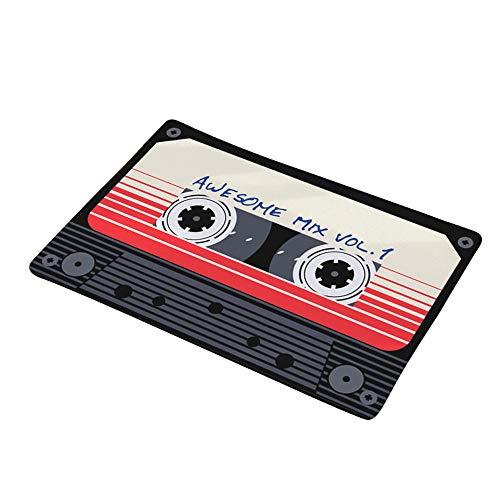 Vacally Vintage Cassette Tape Indoor Doormat Non Slip Door Floor Mats Carpet Rugs Decor Flannel Absorbent Carpet for Kitchen...
