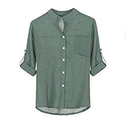 Women S Shirt Casual Buttons Long Sleeve V Neck Loose Solid Color Pocket Simple Top Shirt Meeya Green