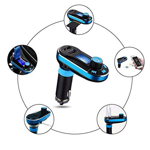 - Novania_Car accessories Car Bluetooth FM Transmitter, Wireless in-Car Bluetooth Receiver Stereo Radio Adapter Car Kit Music Player Hand-Free Calling Dual USB (Blue)