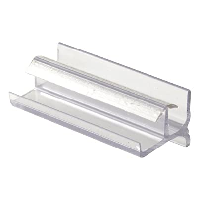 Shower Door Bottom Guide, 3-Inches, Vinyl, Clear, Snap-In Installation