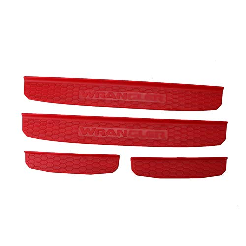 BOXATDOOR for 2018 Jeep Wrangler JL 4 Door Sill Scuff Plate Entry Guard Honeycomb Door Sills Step Protector Stickers Trim Interior for JL Red