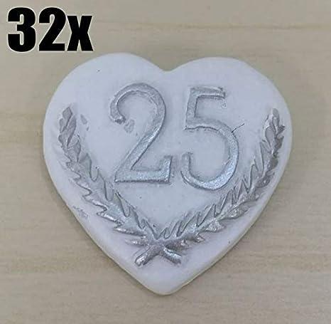 25 Anniversario Di Matrimonio.32 Pezzi Cuore Adesivo 25 Anni Di Matrimonio Nozze Argento