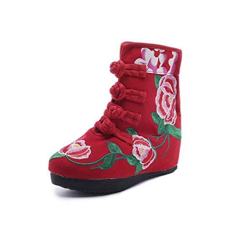 EU EU Stivaletti Ricamo Fuxitoggo Rosso da Fiore Fiore Dimensione Donna 37 con Rosso Vintage Colore vAwwqdgWTx