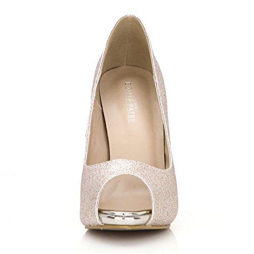 Zapatos Glitter goma 4U® de Casual Color 11CM Bombas champagne para Heels Estilo Plataforma Peep toe EU37 sólido 1CM Básicas Best mujer suela Sandalias verano High de wHxUxFYp