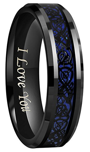 Crownal 6mm 8mm Blue/Green Carbon Fiber Black Celtic Dragon Tungsten Carbide Wedding Band Ring Engraved ''I Love You'' (6mm,6) by CROWNAL (Image #1)