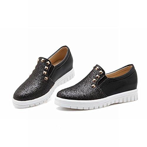 Carolbar Femmes Paillettes Cloutées Mode Brillant Caché Talon Décontracté Mocassins Chaussures Noir
