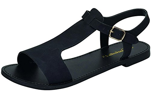 Breckelle's Women's Slingback T-Strap Buckle Flat Sandal (10 B(M) US, (Detail Slingback Sandals)