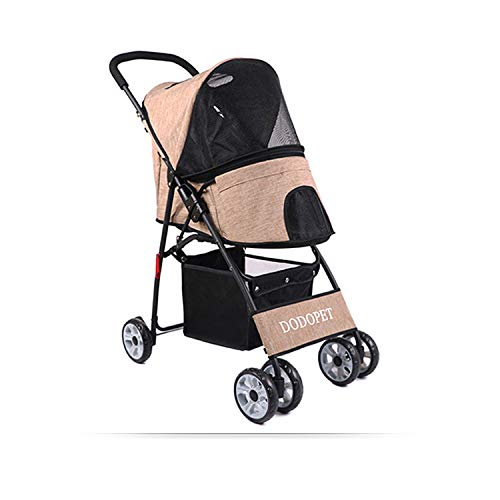 4-Wheeled Pet Stroller Folding, Pet Stroller Lightweight, Dog Stroller Free Tool Inssizetion, Multifunction Pushchair Pram Jogger for Puppy Cat Pets,Brown