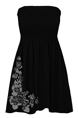 21fashion Femmes Scintillent Imprimé Floral Mini-télé Se Rassemblent Bandeau Dames Robe D'été Top Noir