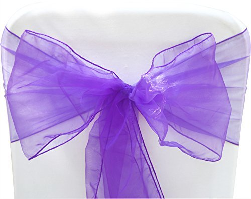 Sarvam Fashion Set of 10 Chair Bows Sashes Tie Back Decorative Item Cover ups for Wedding Reception Events Banquets Chairs Decoration (Lavender)