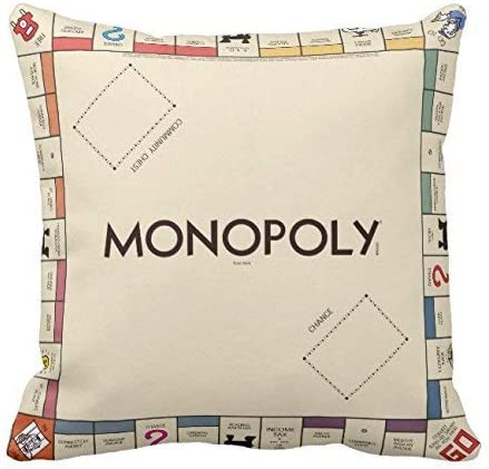 Tablero de juego Monopoly vintage Funda de almohada Throw Pillow Square 18 x 18 pulgadas Lona de algodón suave para el hogar Cojín decorativo de la boda para el sofá y la