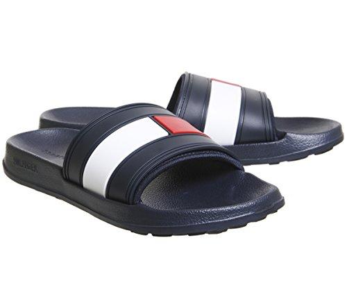 De Et Avec Blanc Hommes Bleu Pour Drapeau Hilfiger Chaussures Piscine Tommy Marine Plage wqEZxI