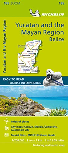 Michelin ZOOM Yucatan and the Mayan Region Belize Road and Tourist Map 185