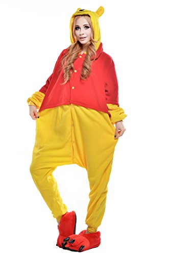 NEWCOSPLAY Halloween Adult Pajamas Sleepwear Animal Cosplay Costume (M, Winne Bear)]()