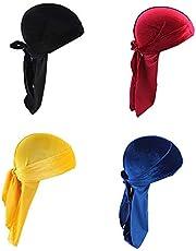 Ulalaza Star Satin Head Wrap Durag Long Tail Beanies Cap Stretchable Velvet Durag Straps Headwraps for Men Women