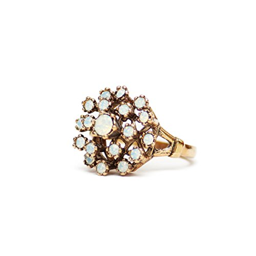 (Providence Vintage Jewelry Pinfire Opal Cluster Ring Antiqued 18k Yellow Gold Electroplated)
