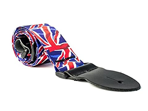 LeatherGraft British Red White Blue Union Jack Printed Flag Country National Design Guitar Strap (Hippie Acoustic Guitar)