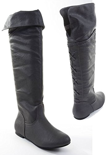 Black Pirate Over the Knee Riding Vegan Leather Boots Womens (Cheap Cowgirl Boots Under 20)