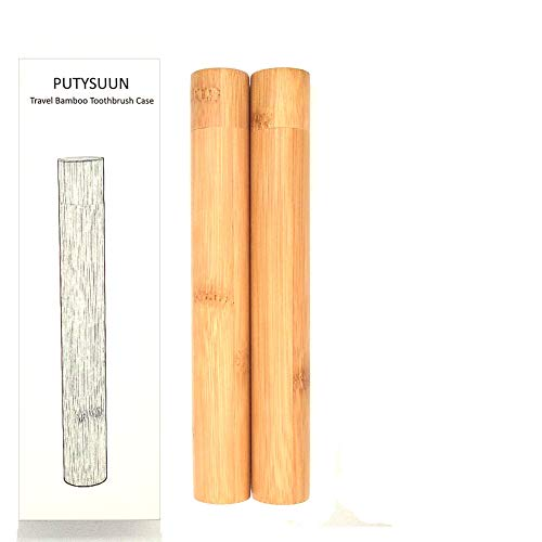 (PUTYSUUN Travel Size Natural Bamboo Toothbrush Case, 2 Pack)