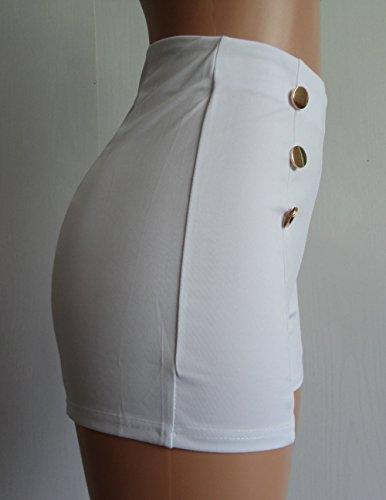Skinny Pantaloncini Monika Vita Moda Shorts con a Bianca Estivo Sexy Donne Alta Bottoni naaE8Ugxwq