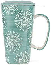 Taimei Teatime Ceramic Tea Cup with Infuser and Lid, 17-oz Tea Filter Mug for Loose Leaf Tea, Coffee Mug in British Rural Style with Handpainted Sunflower Pattern, Turquoise