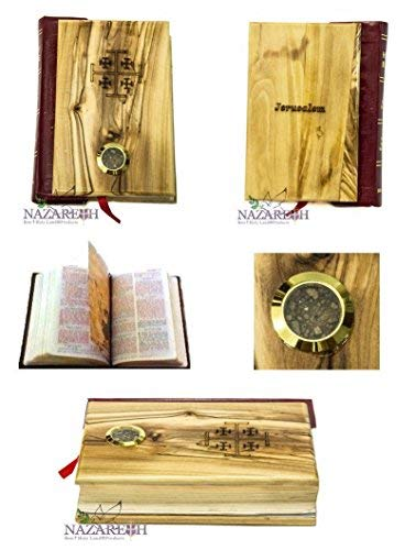Olive Wood Hand Carved Millennium Bible Book with Holy Soil and Jerusalem Cross Holy Land ()