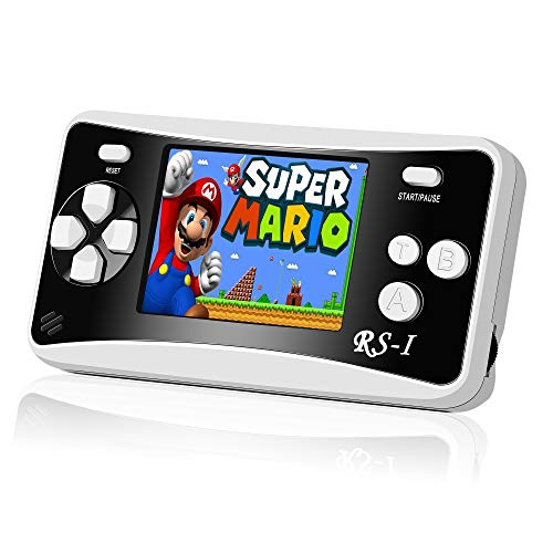 JFMAX RS-16 Handheld Game Console, Classic Retro Game Player with 2.5 8-Bit LCD Portable Video Games, Built-in 152 Old School Games Entertainment, Birthday Presents for Children - Black (152 Games)