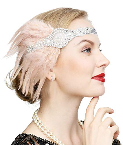 Vintage Black Feather Silver 20s Bridal headpiece 1920s Flapper Great Gatsby Headband (Silver and Nude)