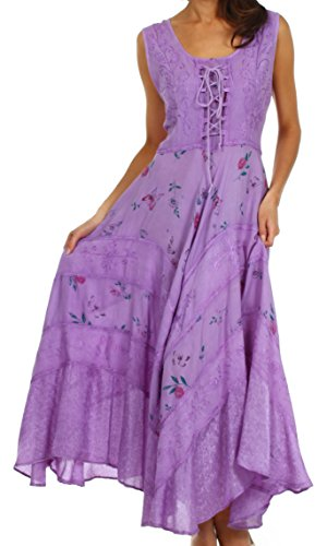 Sakkas 22311 Garden Goddess Corset Style Dress - Purple - 1X/2X (Embroidered Dress Smock)