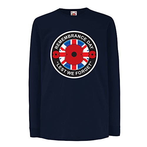 lepni.me T-Shirt For Kids Remembrance Day - Lest We Forget, Poppy Day (12-13 Years Blue Multi Color)