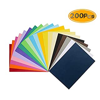 """UPlama Double Sided Lightweight Construction Paper, Neon Colored Paper Pads Multicolored Construction Paper Craft Paper, Printing Paper And Copy Paper, 70GSM A4 20 Assorted Colors,8"""" x 11"""", 200 Sheets"""