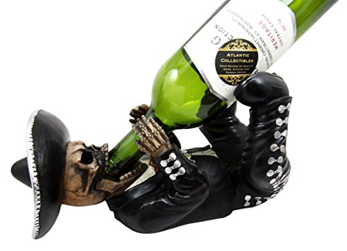 [Atlantic Collectibles Traditional Day Of The Dead Skeleton Mariachi Wine Holder Figurine 11.25