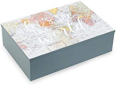 Tds Caja de té de Madera Impreso Tarjeta del Mundo 6 Compartimentos – Almacenamiento para bolsita de té, café, Especias, Monodosis de Café – Idea Regalo o decoración Cocina: Amazon.es: Hogar