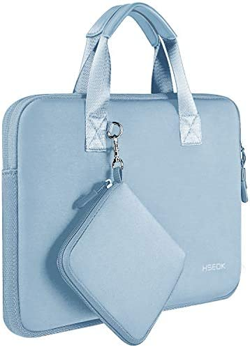"Laptop Sleeve 13 13.3 13.5 Inch Case for MacBook Air Pro 13""-13.3"", Surface Laptop 13.5"", Water Repellent Elastic Neoprene Notebooks Hand Bag with Handle and Small Case, Sky Blue"