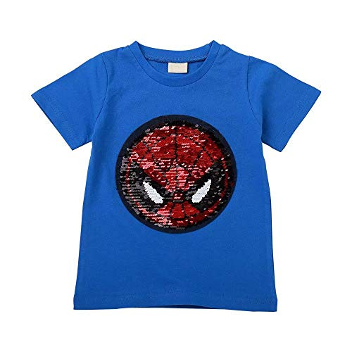 Tsyllyp Boys Kids Superhero Spider Man Sequins T-Shirt Short Sleeve Tee Tops -