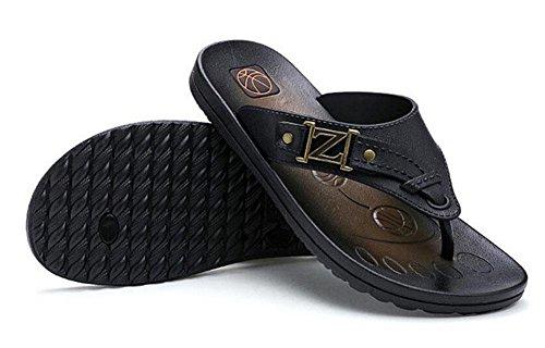 GLTER Hombres Chancletas Verano Respirable Zapatillas Playa Sandalias Casual Black