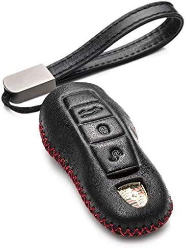 [해외]Vitodeco Genuine Leather Smart Key Fob Remote CaseLeather Key Chain for Porsche 718 Porsche 911 Porsche Panamera Porsche Cayenne (3-Button BlackRed) / Vitodeco Genuine Leather Smart Key Fob Remote CaseLeather Key Chain for Porsche ...