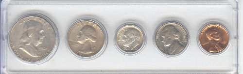 1961 BIRTH YEAR COIN SET- 5 COINS- HALF DOLLAR, QUARTER, DIME, NICKEL AND CENT- ALL DATED 1961 AND ENCASED IN A PLASTIC HOLDER--NOTE--THE COINS WILL BE AS GOOD OR BETTER THEN THE PICTURE-NOTHING LESS